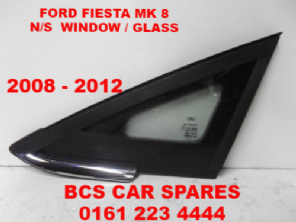 FORD  FIESTA   Mk 8    FRONT  WINDOW / GLASS  PASSENGER  SIDE  CHROME TRIM  2008 - 2014